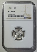 1941 Mercury Silver Dime 10¢ Coin NGC MS65 FB Full Bands - Lot# SR 1240