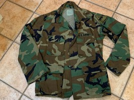 VINTAGE US ARMY MILITARY OLD IRONSIDE PATCH WOODLAND JACKET CAMOUFLAGE C... - $43.16