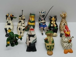 Vtg Fun Handmade Painted Folk Art Wooden Animal Figurines Lot w/ Fishing... - $33.85