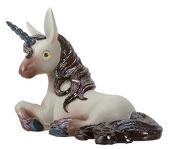 YTC Jupitar The Grey Unicorn Laying Down with Its Dark Blue Horn Figurine - $19.79