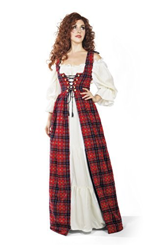 Scottish Highlander Tartan Renaissance Over Dress (XXS/XS, Red)