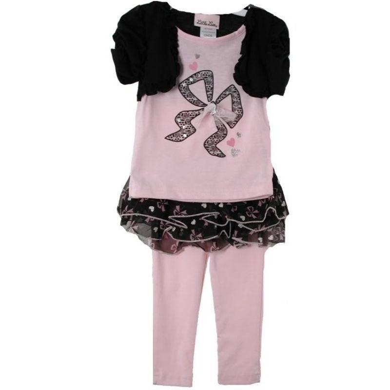 0279ca9fa403a S l1600. S l1600. Previous. Posh Pink Black Little Lass Girls Top Tutu  Leggings 3-Pc Set, Bow Hearts. Posh Pink Black ...