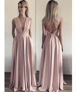 A Line Evening Dress, Open Back Evening Dresses, Deep V Neck Long Prom D... - $179.00