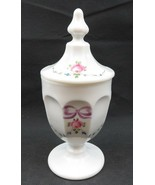 Vintage Westmoreland Milk Glass Tall Candy Jar hand painted Roses signed... - $76.00
