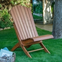 Outdoor Patio Armless Hardwood Adirondack Chair with Brown Wood Stain - $198.52