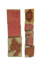 Halloween Stamps - NEW - Set of 6 Different Stamps Mounted on Wood image 2