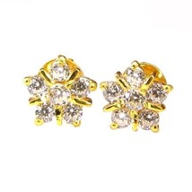 Graceful CZ Studded EAR Studs PAIR 14k Solid Real Gold Screw Back - $121.13