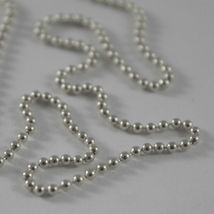 SOLID 18K WHITE GOLD CHAIN WITH BALLS, BALL, SPHERES, NECKLACE, MADE IN ITALY image 3