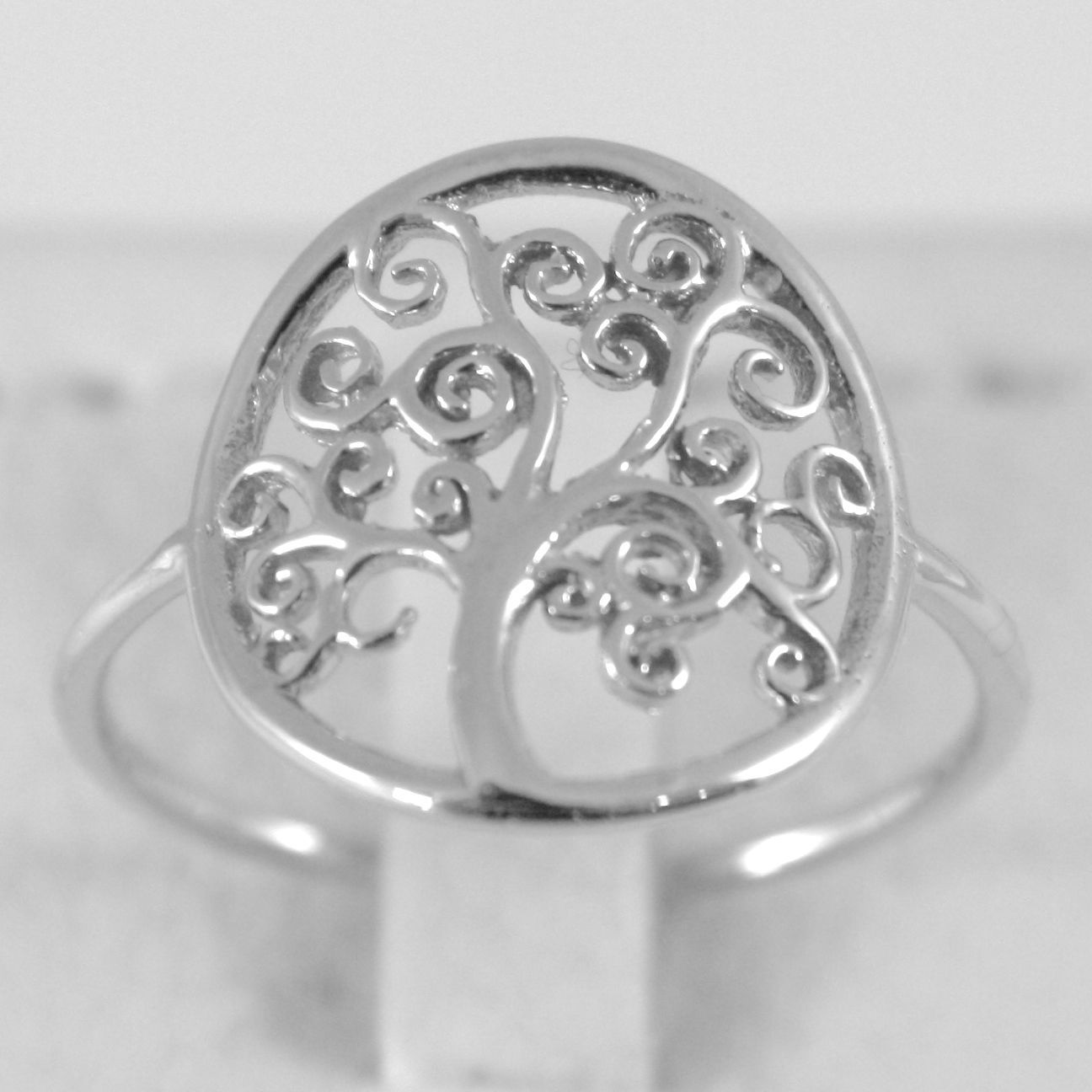 White Gold Ring 750 18k with Tree of Life, Circle, Made in Italy