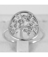 White Gold Ring 750 18k with Tree of Life, Circle, Made in Italy - $306.09