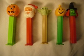5 Vintage Pez Santa Pumpkins Yoda Witch image 1