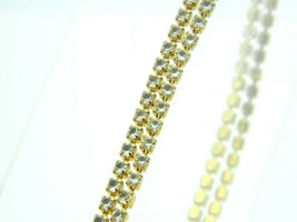 "MONET Clear Rhinestone Double Row Tennis Bracelet Gold Tone Vintage 7.5"" - $12.75"
