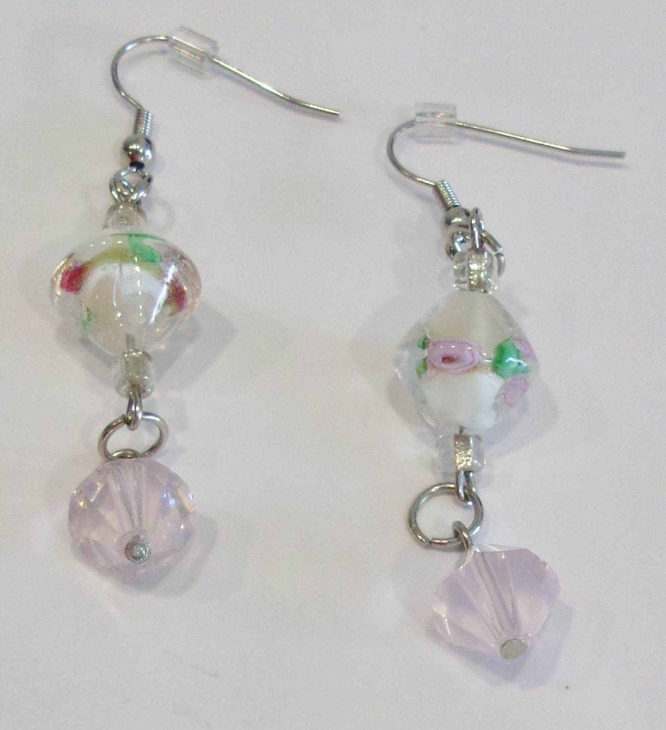 handmade white and pink glass bead dangle earrings