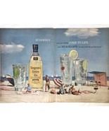 1957 Seagrams Golden Gin Vintage Print Ad Beach Derujinsky Models 2 Page - $14.25