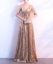 Women Long Sequin Dress Outfit Half Sleeve Wedding Gold Sequin Dress Plus Size image 6