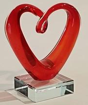 Art Glass HEART Sculpture Figurine Handmade Red Love Paperweight Home De... - $39.95