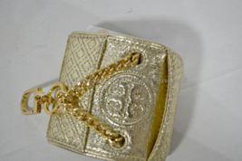 Tory Burch Leather Fleming Metallic Mini Key Fob / Bag Charm in Spark Gold/Black image 9