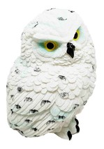 Arctic Ghostlike White Snow Owl Chick Cute Figurine Mini Collectible Scu... - $16.99