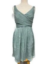 J Crew Silk Chiffon Heidi Dress Dusty Shale Green Cocktail Party Wedding... - $59.79