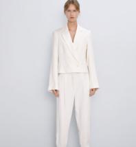 Zara Womens Blazer Suit Jacket X-Small XS Ecru Off White Cropped 8215/12... - $88.11