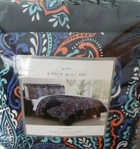Elma's ~ Three (3) Piece Queen Quilt Set ~ Navy Background ~ 1 Quilt ~ 2... - $63.36
