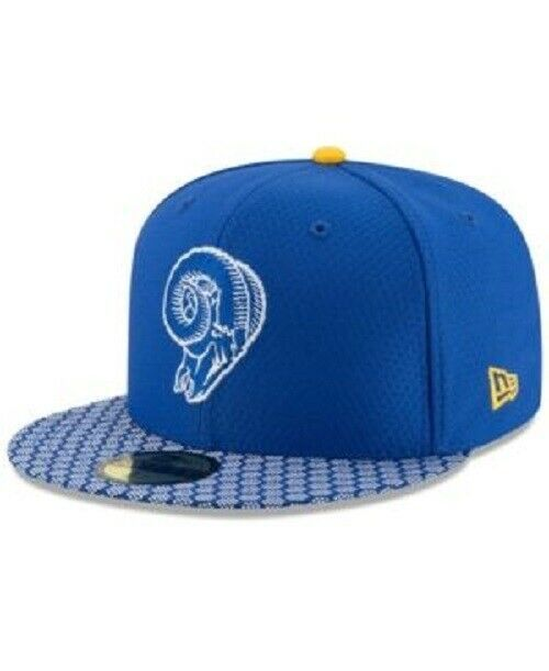 New Era Los Angeles Rams 5950 On Field 2017 Sideline Fitted Hat Blue Size 7 3/8