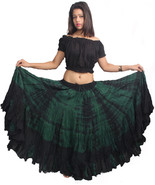 Indiantrend 25 Yard Spainish Belly Dance Skirt Green Tie Dye - $44.10