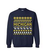 AW30 - Michigan Wolverines Holiday Ugly Sweater Crewneck Sweatshirt - X-... - $30.99
