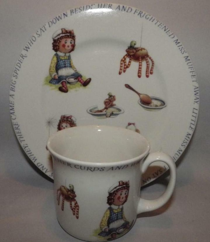 Primary image for Little Miss Muffet Queen's Fine China Porcelain Childs Mug & Plate Made in India