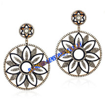 Estate Victorian 15 Ct Rose Cut Diamond .925 Sterling Silver Jewelry Ear... - $724.68