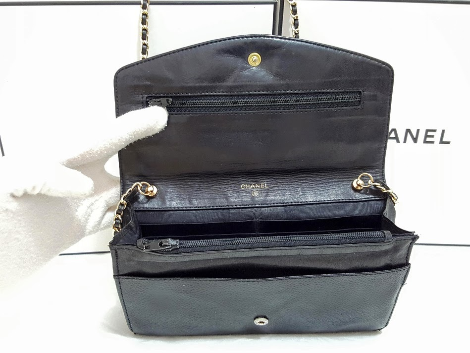 Auth Chanel Timeless Black Caviar Leather Gold Chain Wallet WOC Crossbody Bag image 6