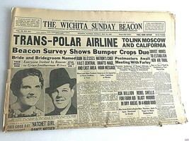 1937 Newspaper Trans-Polar Airline To Link Moscow & California Sections ... - $37.82