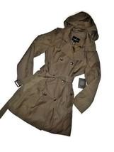 London Fog Trench rain dress Coat w rem hood Fatigue Green OLIVE size Me... - $109.35