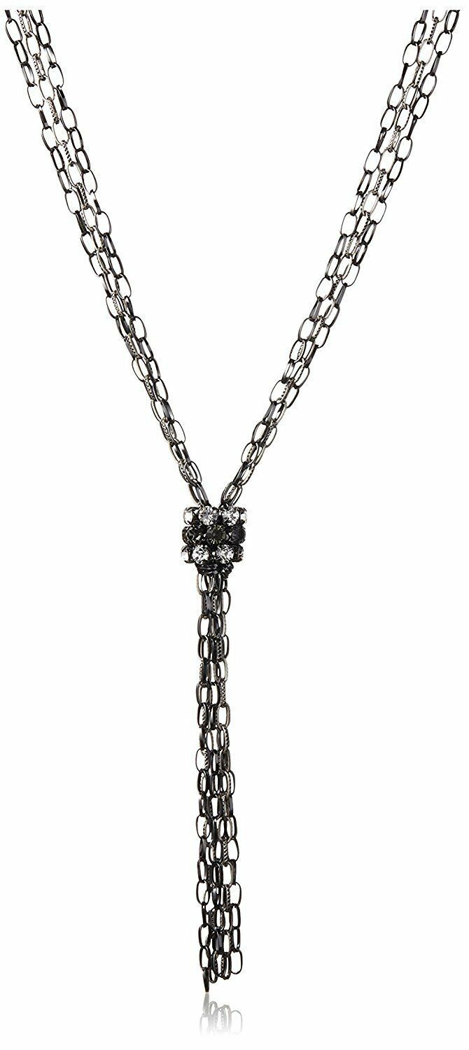 Leslie Danzis Oxidized Silver & Gun Metal Chain Necklace with Crystal Tie NWT