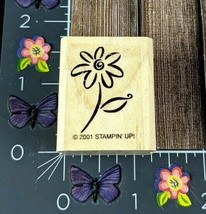 Stampin' Up! Daisy Spiral Center Flower Rubber Stamp 2001 Wood Mount #N157 - $2.23