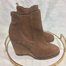 MICHAEL KORS Brown Suede Leather Pull On Wedge Ankle Booties Heels Women... - $39.19