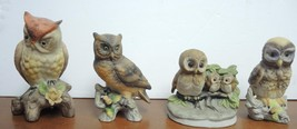 Four Vintage Brown  and Yellow Owls Figurines - $10.69