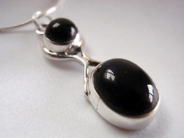 New Black Onyx Figure-8 Sterling Silver Necklace India - $20.45