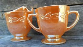 Fire King Sugar and Creamer set, Peach Lusterware, Laurel Pattern  - $18.00