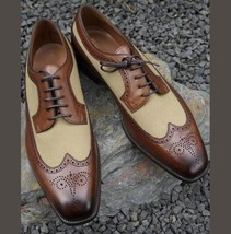 Handmade Men two tone wing tip brogue formal dress boots - $139.00 - $179.97
