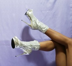 """Size 10 Pleaser Blondie-R1008 Silver Sequins Open-Toe 7"""" Stiletto Ankle Boots - $103.95"""