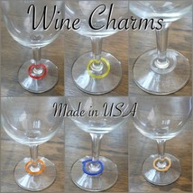 100 WINE GLASS CHARMS OR MARKERS MULTIPLE COLORS ASSORTED 3D PRINT PR133... - $6.99