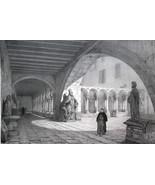 FRANCE Interior of Aix en Provence Cathedral - SUPERB 1843 Antique Print - $30.60