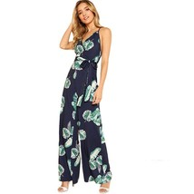 Tropical Print Wide Legs V Neck Spaghetti Straps Self Belted Women Jumps... - $33.99