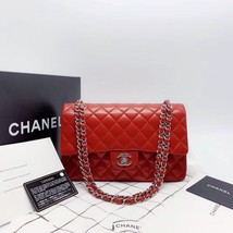 AUTHENTIC Chanel RED Quilted LAMBSKIN MEDIUM DOUBLE FLAP BAG SILVERTONE HW image 4