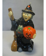 Halloween Figurine Candle Witch With Broom Stick Cat and Pumpkin - $7.95