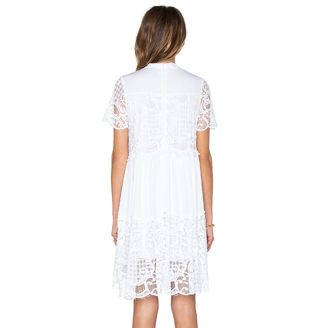 Kendall Kylie Lace Babydoll Dress Smooth, White, Small