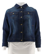 Isaac Mizrahi TRUE DENIM Jean Jacket Gingham Trim Dark Indigo 20W NEW A2... - $38.59