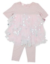 Biscotti Toddler Girls Pink Silver Size 3T 2pcs Tulle Top+Pants Heart Ou... - $32.71