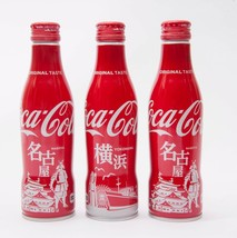 Yokohama & 2 Nagoya Coca Cola Aluminum Full bottle 3 250ml Japan Limited - $38.61
